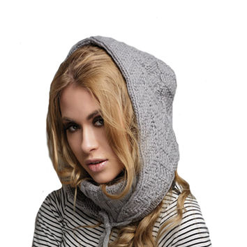 Knitted Winter Hooded Scarf - Knit Wool Hoodie Cowl
