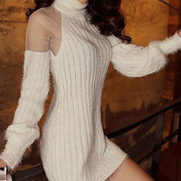 White Turtleneck Mesh Knitted Dress