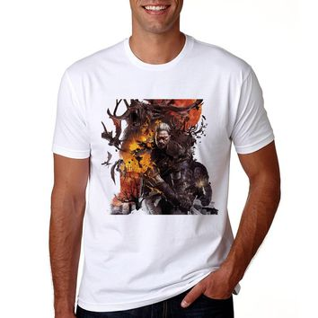The Witcher T Shirt Men 2018 Casual Cotton Short Sleeve Game Tshirt Summer O-neck Men The Witcher 3 Wild Hunt Print T-shirt
