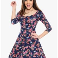 Blue/Mix Early Bloomer Floral Skater Dress | $10.00 | Cheap Trendy Casual Dresses Chic Discount Fas