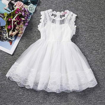 White Princess Wedding Tutu Dress Children Clothing Summer 2017 Formal Toddler Girl Party dress for Girls Clothes Kids Dresses