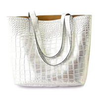 Trendy Silver Crocodile Print Metallic Tote