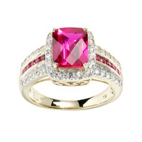 10k Gold Over Silver Lab-Created Ruby & White Sapphire Frame Ring (White/Ruby/Sapphire)