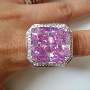 Blingtacular HUGE ROCK 47 Carat Faceted Square Cushion Cut Simulate Faux Light Purple Pink Diamond Cubic Zirconia CZ Accents Engagement Ring