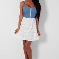 Sally Blue Chambray and Lace Skater Dress | Pink Boutique