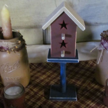 Primitive Birdhouses on Pedestal Bird house Rustic Birdhouse Decor Red White and Blue Decor