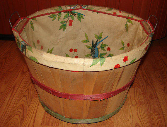 Vintage Wood Bushel Laundry Basket, From PJsParadise