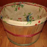 Vintage Wood Bushel Laundry Basket, Parakeet and Cherry Oil Cloth Lined Wooden Clothes Hamper, Metal Wire Handles Jacksonville Texas