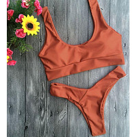 Fashion Solid Color Sportswear Two Piece Bikini Pure Color Vest Type Two Piece Bikini