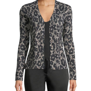 Roberto Cavalli Button-Front Long-Sleeve Leopard-Print Cashmere-Silk Cardigan and Matching Items