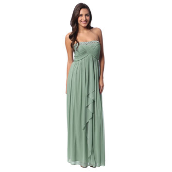 Decode 1.8 Womens Sage Cascading Ruffle Strapless Gown