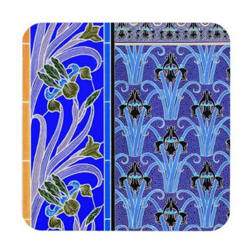 Art nouveau black and purple iris coaster