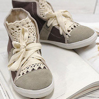 AsiaJam.com Fashion Boutique | Lace High Cut Sneakers