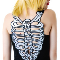 Queen of Darkness Bone Marrow Back Tank Top Black