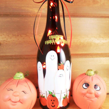 Halloween Lighted Wine Bottle Ghost Family Pumpkins Hand Painted 750 ml