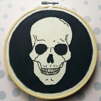 "Embroidered and Painted Skull in 6"" Wooden Hoop - Halloween"