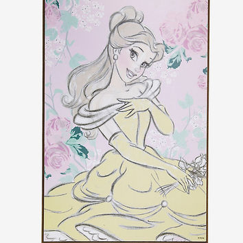 Disney Beauty And The Beast Belle Pastel Wood Wall Art