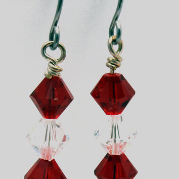 Ruby Red and Clear Crystal Faceted Glass Bead by SeventhChild