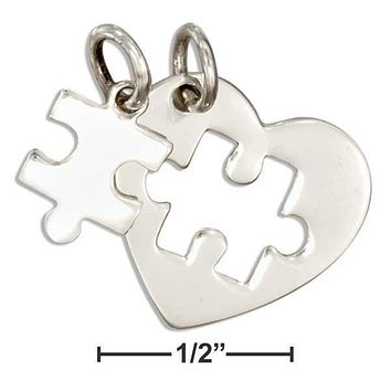 Sterling Silver Charm:  Two Piece Heart With Cutout And Puzzle Piece Autism Charm Set