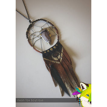 nomad // leather & arrowhead dreamcatcher necklace