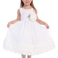 (Sale) White Tulle Blossom Flower Girl Dress with Poly Silk Sash & Ribbon Flowers (Girls 12 months to Size 12)