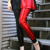 Red and Black Harley Quinn Metallic Leggings by DerangedDesigns916