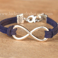 SALE- infinity bracelet, Navy Blue leather bracelet, sweet gift, Christmas gift