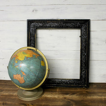 Vintage Shabby Black Distressed Frame - Open Frame - Distressed Frame - Ornate Frame - Baroque Frame - Shabby Chic - Farmhouse - Chippy