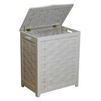 Oceanstar White Finished Rectangular Veneer Laundry Wood Hamper with Interior Bag RHV0103W