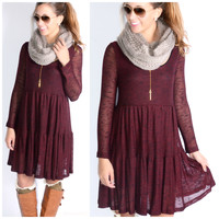 How We Do Burgundy & Black Knit Dress