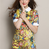 Yellow Short Sleeve Printed Pointed Flat Collar Mini A-Line Dress