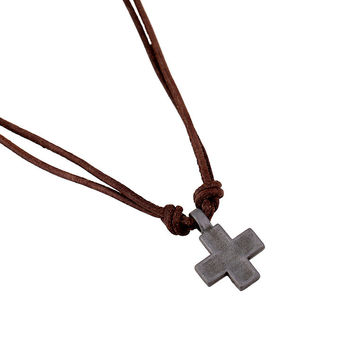 Stylish Shiny New Arrival Gift Jewelry Style Leather Men Alloy Cross Rack Vintage Chain Necklace [6526581187]