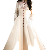 Vintage Stand Collar Front Embroidered Buttoned Flare Coat