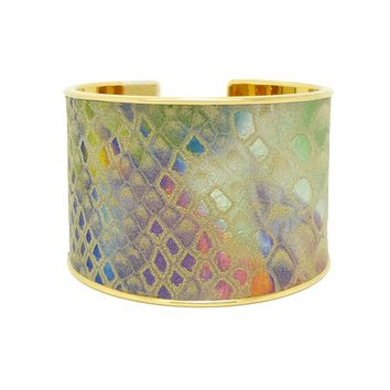 Rainbow Metallic Snake Embossed Leather Bracelet Cuff Extra Wide