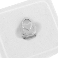 Single Tooth Grillz Mouth Grill Cap Heart Design 14K White Gold Finish