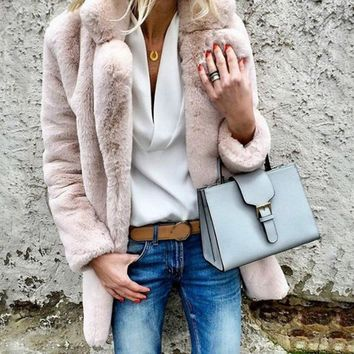 2018 Fashion Women Winter Warm Lapel Fluffy Coat Thicken Jacket