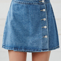 Bullhead Denim Co. Button Front Wrap Denim Skirt at PacSun.com