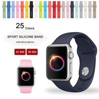 Silicone Sport Strap For Apple Watch Band 42mm 38mm iWatch Sport Band 25 Colors