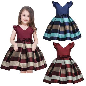 Kids Baby Girl Bowknot Striped Wedding Bridesmaid Pageant Princess Party Dresses