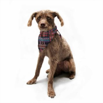 "Victoria Krupp ""PLUSH N PRETTY PLAID"" Black Multicolor Ethnic Geometric Digital Illustration Pet Bandana"