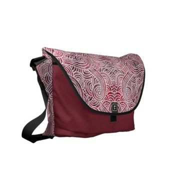 Messenger bag - Red and white scrolls