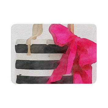 "Oriana Cordero  ""French Outing"" Black Pink Memory Foam Bath Mat"