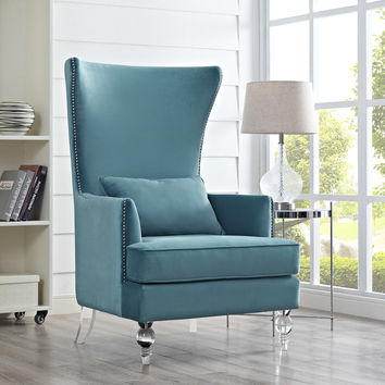 TOV Furniture Bristol Sea Blue Velvet Chair with Lucite Legs