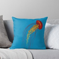 'Stitches: Jellyfish' Throw Pillow by VrijFormaat