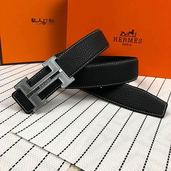 Hermes Tide brand simple retro H letter buckle smooth buckle belt silver