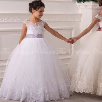 2017 White Ball Gown Flower Girl Dresses Long Kids Prom Dress Pageant Dresses for Teens Holy Communion Dresses for Girls