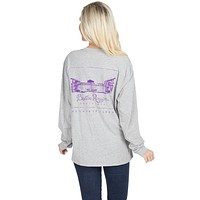 Louisiana State University Long Sleeve Stadium Tee in Heather Grey by Lauren James