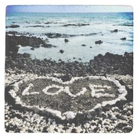 "Hawaii black sand beach & coral ""love"" heart photo stone coaster"