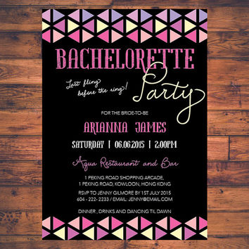 Geometric Bachelorette Party Hen Party Bride To Be Last Fling Before The Ring Invitation Invite Digital Print Printable Card