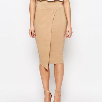 Vesper Wrap Front Midi Skirt at asos.com